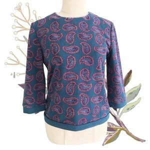 ★ 3 FOR $30 ★ OCHIRLY Size S Paisley 3/4 Sleeve Sweater